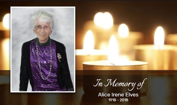 In Memory of Alice Irene Elves 1918 - 2018