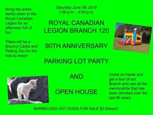 Royal Canadian legion Branch 120 90th Anniversary Parkinglot party and open house