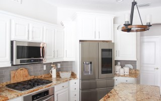 Bump and Stagger white cabinets