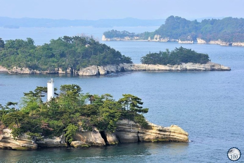 White lighthouse on one of the islets in Matsushima bay.
