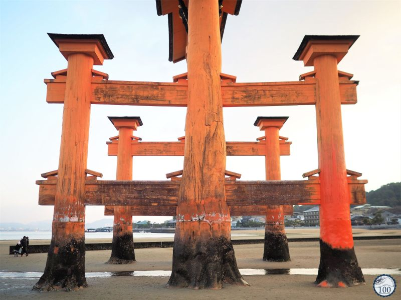 A quite rare view of Miyajima's large torii.