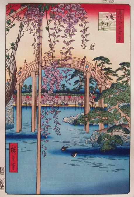 Glycines et pont lune du Kameido Tenjin vu par Hiroshige