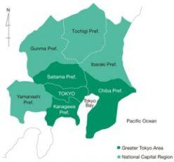 منطقة طوكيو الكبرى باللون الأخضر الغامق والمحافظات المجاورة لها باللون الأخضر الفاتح