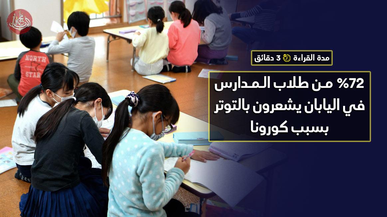 %72 من طلاب المدارس في اليابان يشعرون بالتوتر بسبب كورونا