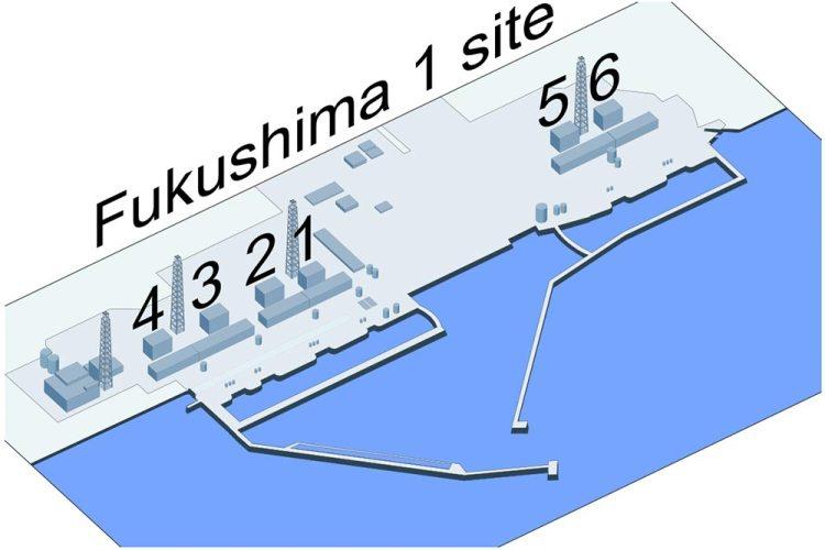 مخطط يوضح بُنية محطة فوكوشيما الأولى للطاقة النووية بمفاعلاتها الستة | عبر ويكيميديا