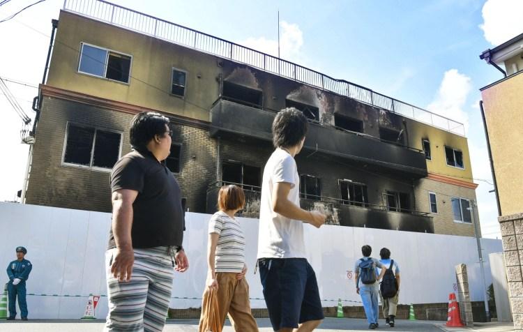البناء المحترق لاستوديو كيوتو أنميشن | عبر وكالة كيودو