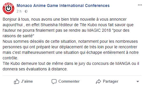 Finalement l'auteur de Bleach n'ira pas au Monaco Anime Game International Conferences ! Découvez toute son actualité sur Nipponzilla, la référence en matière de manga, anime, jeux vidéo et cinéma
