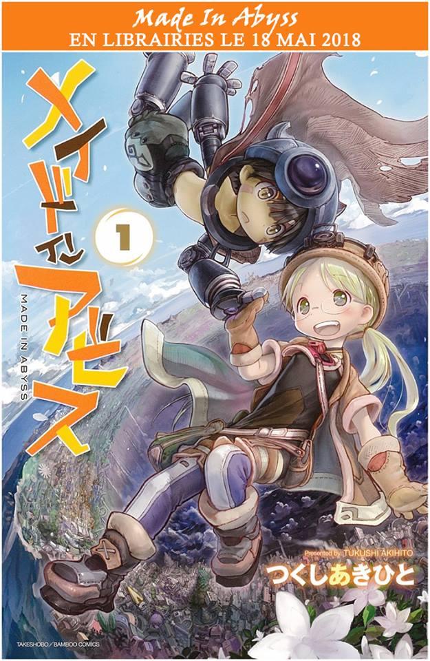 Le tome 1 de Made in Abyss sera disponible le 18 mai 2018 chez Ototo ! Lisez toute l'actu concernant Made in Abyss sur Nipponzilla, la référence en matière de manga, anime, jeux vidéo et cinéma