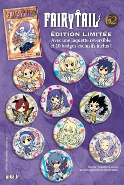 Les dix badges paillettes de l'édition limitée du tome 62 de Fairy Tail disponible chez Pika Edition