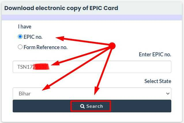 Enter EPIC Number Select State and click on Search button to Download E Voter card Online via National Voter's Service Portal