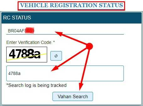 Vehicle Registration Status Search in Hindi