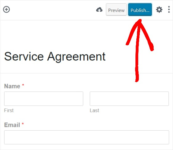 Publish service agreement in WPForms