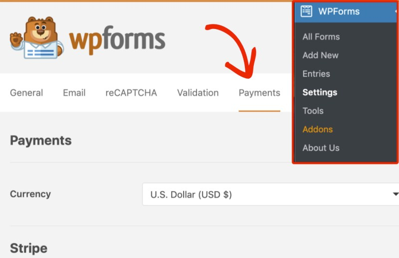 Open payments tab of WPForms