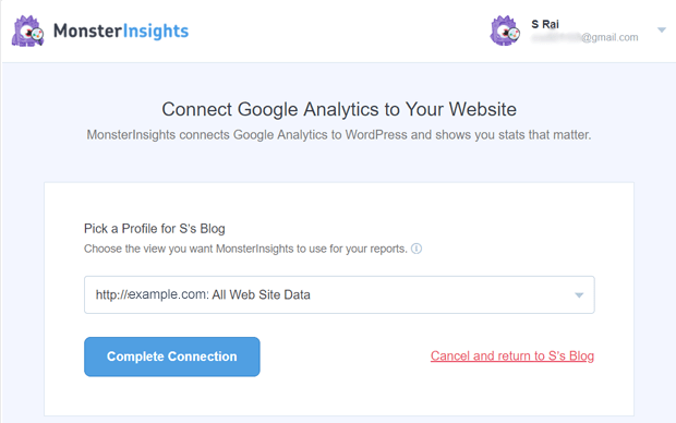 Pick up a Profile from google account - MonsterInsights