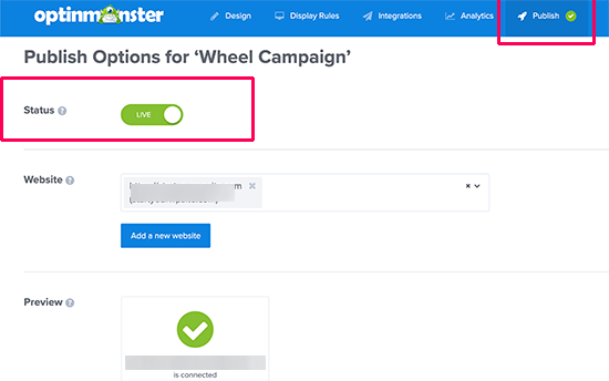 How to Create Spin to Win Campaigns in WooCommerce and Shopify - Publish your campaign - OptinMonster