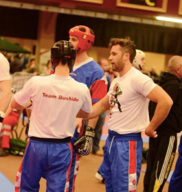 Palmerstown kickboxers wearing their team t-shirts with my design.