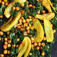 Turmeric Roasted Fennel, Chickpeas and Kale Salad