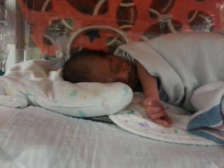 Noah in his incubator
