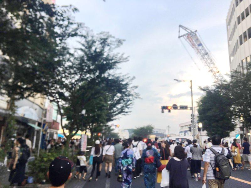 小山の花火大会のときに歩行者天国となる祇園城通り