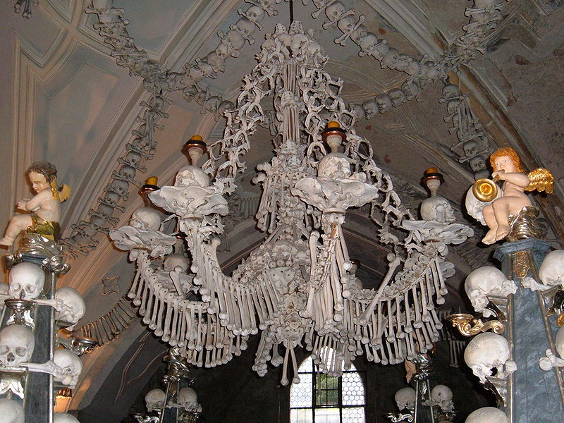 Chandelier Made Of Human Bones At Sedlec Ossuary