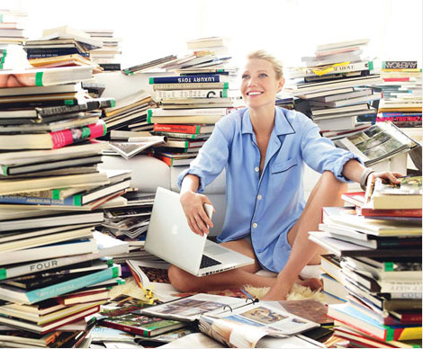 The Lovely Gwyneth Paltrow Surrounded by Books - from August US Vogue 2010