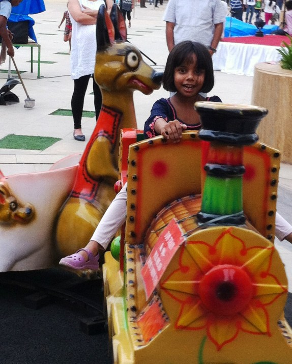 Snubnose riding the toy train