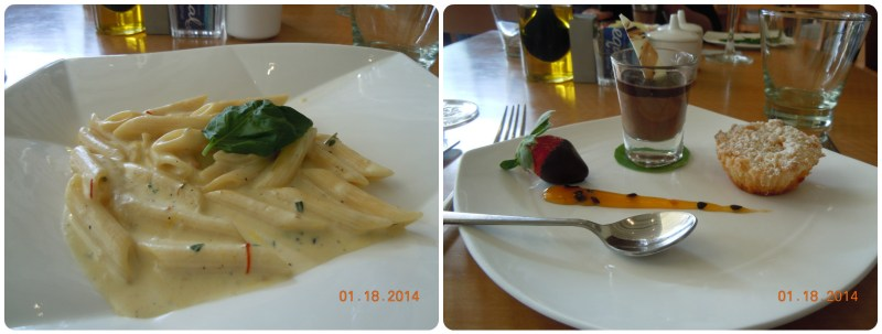 Awesome pasta with saffron and cream sauce and the yummiest desserts ever