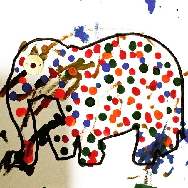 An elephant printed out from the web that Piglet has painted in