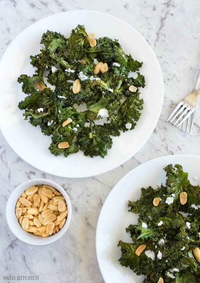 baked kale chips salad