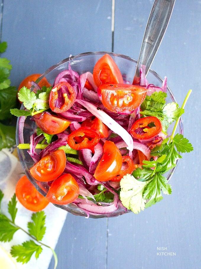 tandoori fish and onion salad
