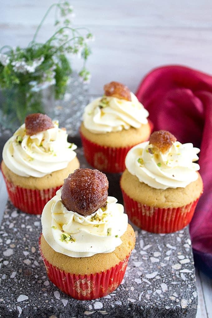 gulab jamun cupcakes recipe