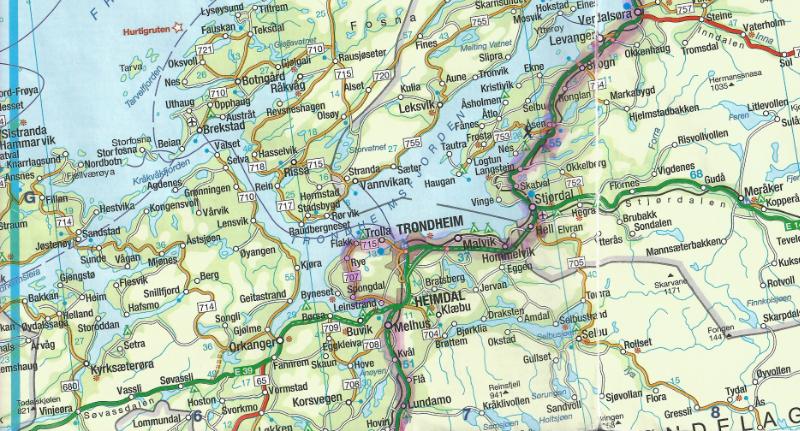 Norwegen Trondheim Karte