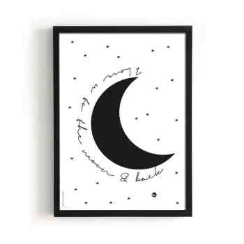 Print - LOVE U TO THE MOON von The birds and the bees