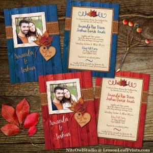 Rustic Autumn Fall in Love Photo Wedding Invitation