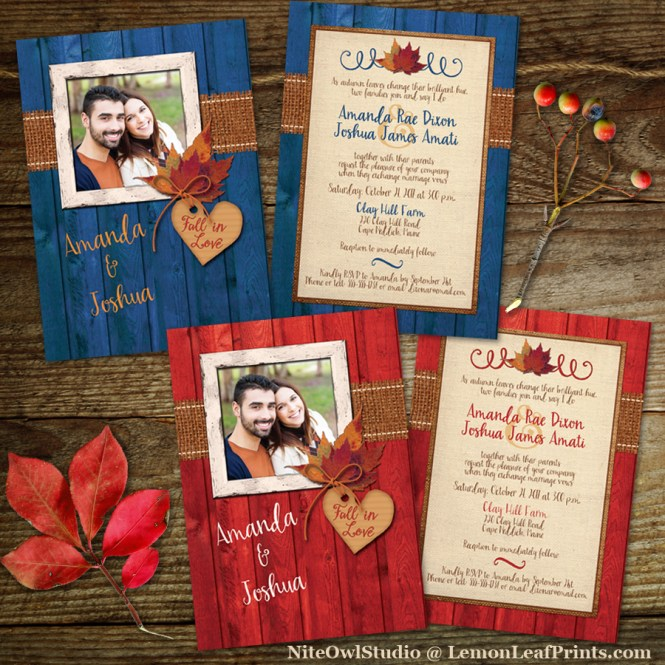 Rustic Autumn Maple Leaves Fall in Love Photo Wedding Invitation