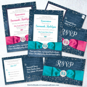 Hot pink or turquoise denim and diamonds quince años invitation sets