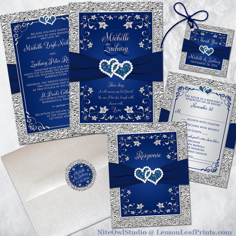 Navy blue and silver joined hearts floral wedding invitation set