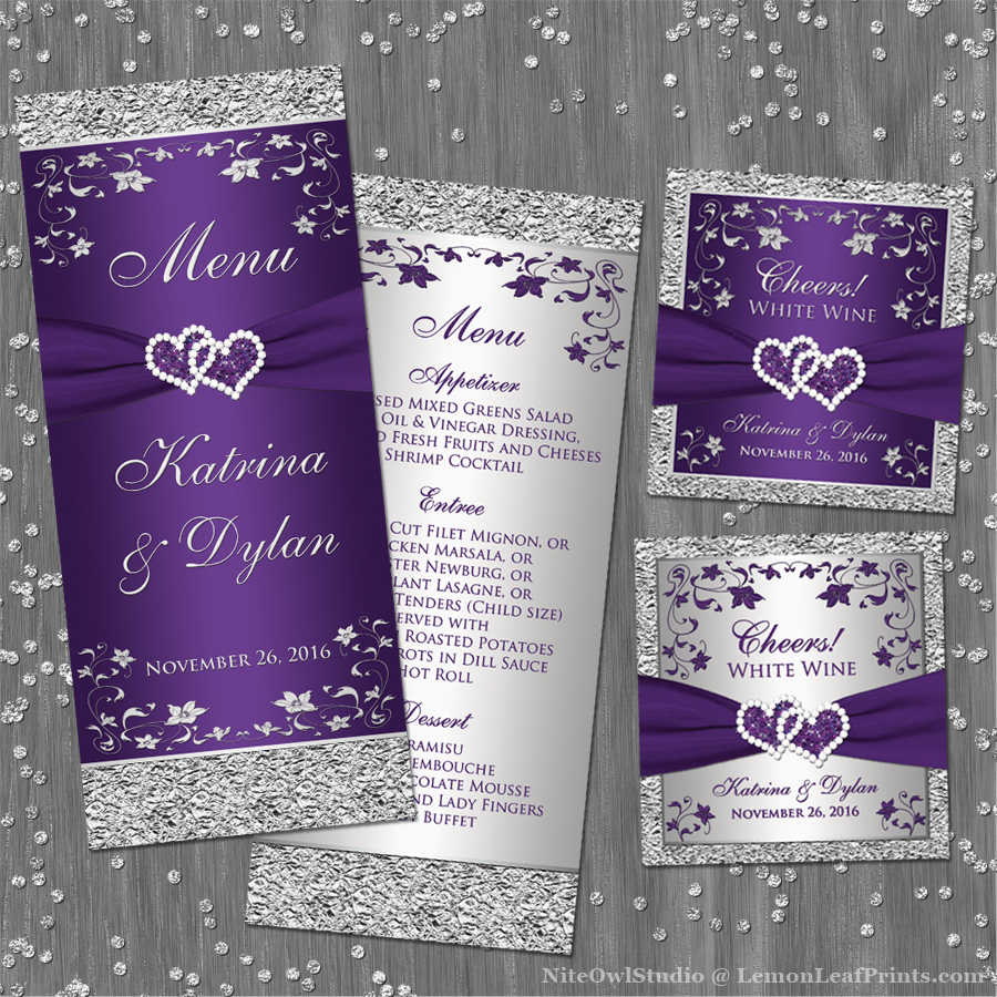Purple Silver Joined Hearts Wedding Menu Favor Tags
