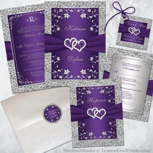 Purple Silver Joined Hearts Wedding Invitation Set