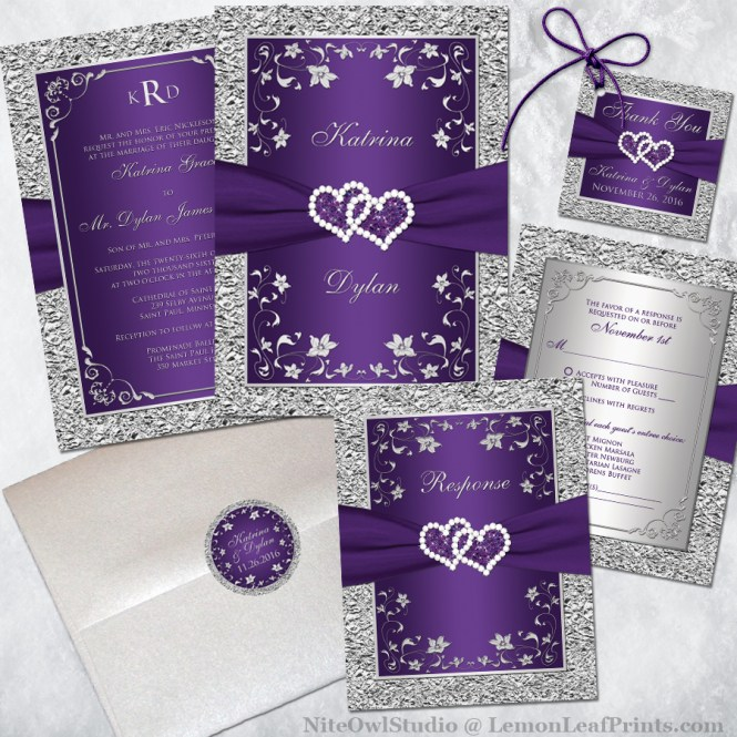 Purple Silver Wedding Invitation Set - Joined Hearts Jewel