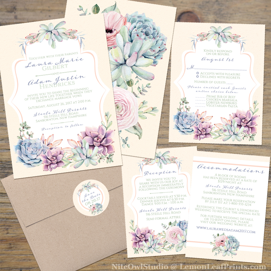 Pastel succulent wedding invitation set