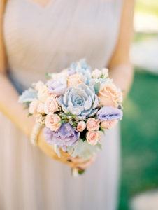 Pastel succulents wedding bouquet