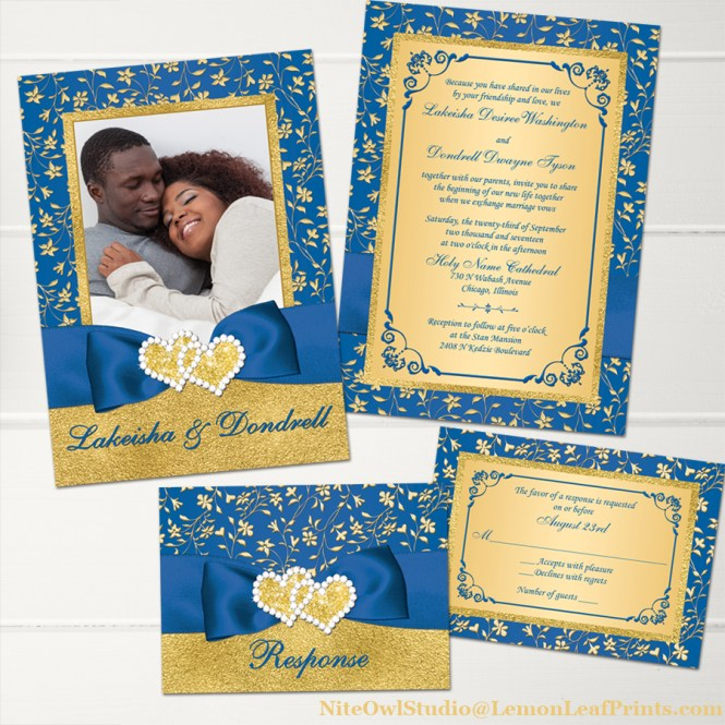 Royal blue gold floral joined hearts jewel photo wedding invitation and reply card