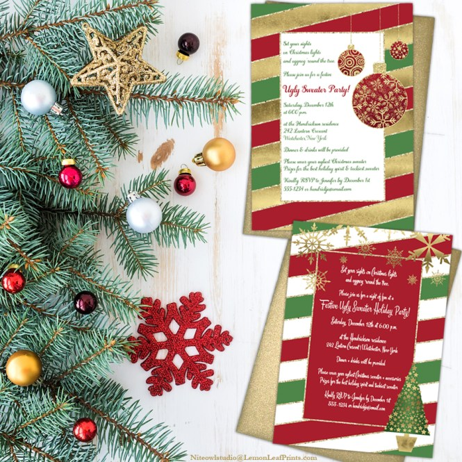 Festive Ugly Christmas Sweater Holiday Party Invitations