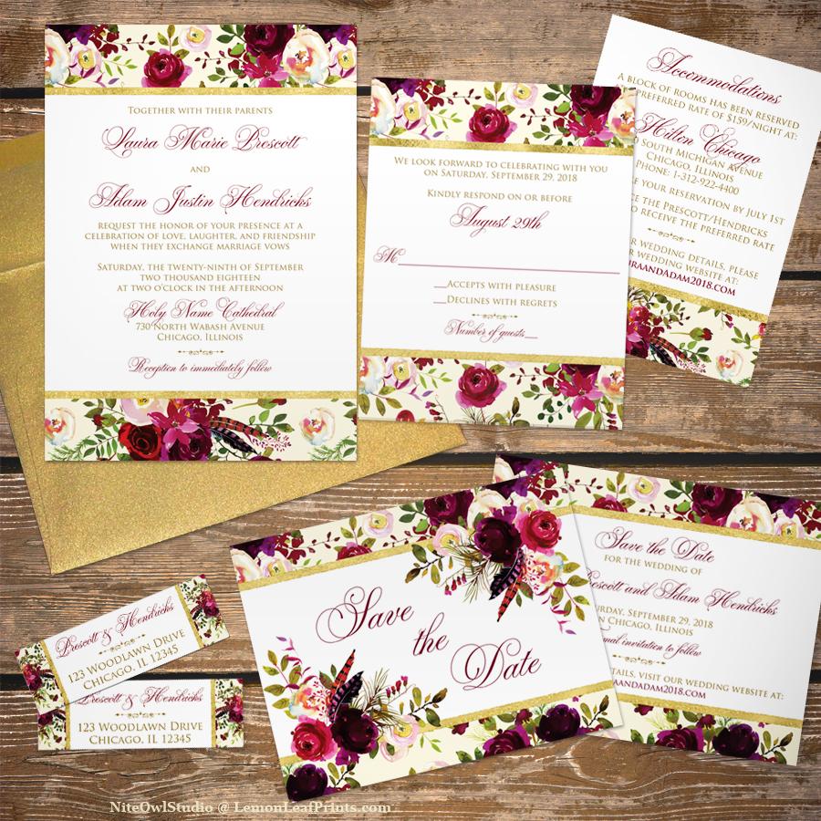Burlap Leaves Rustic Fall Wedding Invitation Set - NiteOwl Studio\'s ...