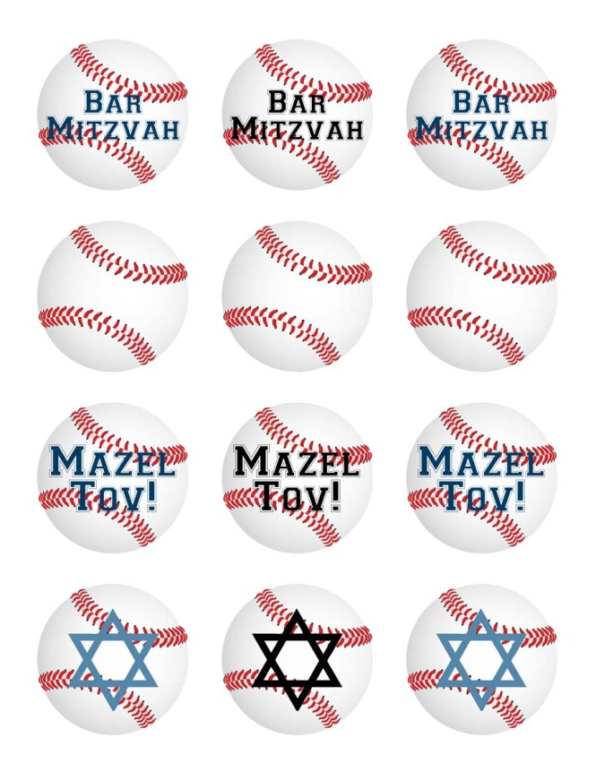 Free printable baseball Bar Mitzvah cupcake toppers