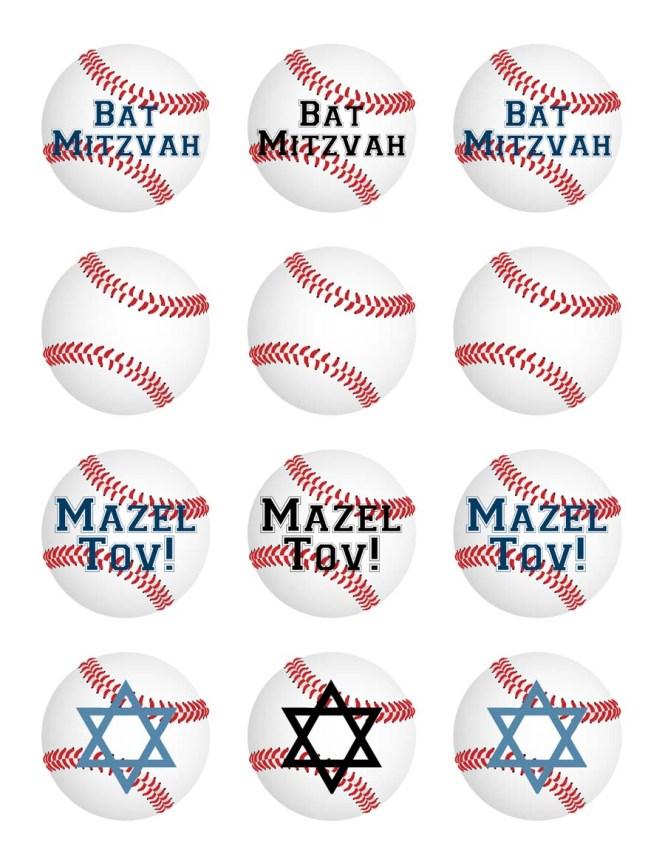 Free printable baseball Bat Mitzvah cupcake toppers