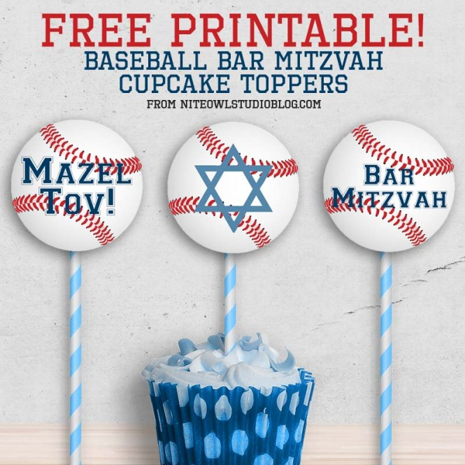 Baseball Softball Mitzvah Cupcake Toppers Free Printable Mockup Graphic
