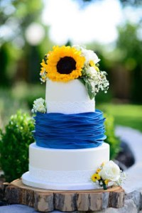 blue yellow sunflower wood wedding cake