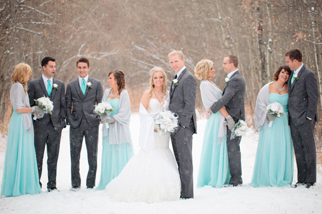Tiffany blue winter wedding bridal party